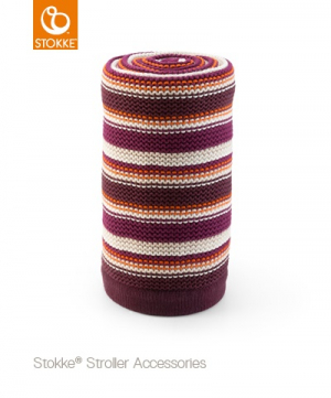 STOKKE� Stickad filt, Purple & Orange