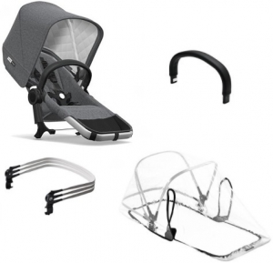 Bugaboo Donkey2 Duo Extension Set Komplett Classic Collection, Alu/Grey Melange