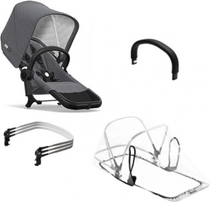 Bugaboo Donkey2 Duo Extension Set Komplett Classic Collection, Black/Grey Melange