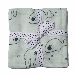 Done by Deer 2-pack Muslinfiltar Sea friends, blue