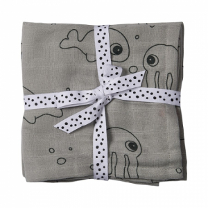 Done by Deer 2-pack Muslinfiltar Sea friends, grey