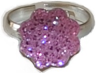 Busy Lizzie Ring Strass Blomma Rosa
