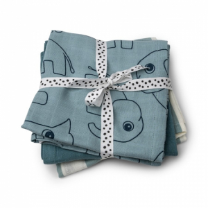 Done by Deer 3-pack Muslinfiltar 70x70 Deer friends Blue