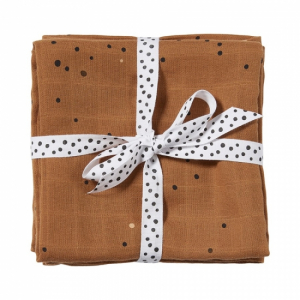 Done by Deer Swaddle Filt 2-pack Dreamy Dots Mustard