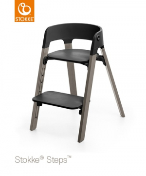 Stokke Steps Matstol Hazy Grey Black