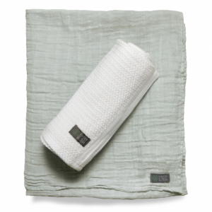 Vinter & Bloom Gallerfilt + Muslin EKO 2-pack Vit/Grön