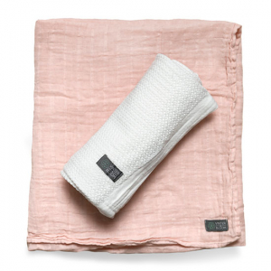 Vinter & Bloom Gallerfilt + Muslin EKO 2-pack Vit/Rosa