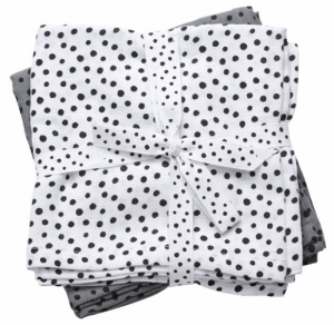 Done by Deer 2-pack Muslinfiltar Happy Dots Grey