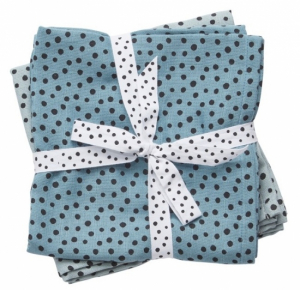 Done by Deer Swaddle Filt Happy Dots Blue, 2-pack