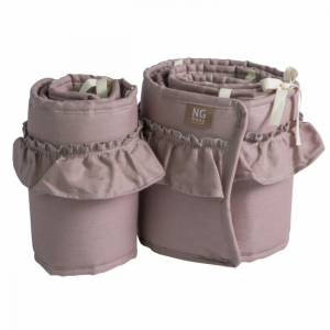 NG Baby Spjälskydd Bed Side Crib Dusty Pink med volang