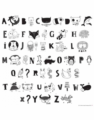 A Little Lovely Company Lightbox Letter Set Kids ABC Black