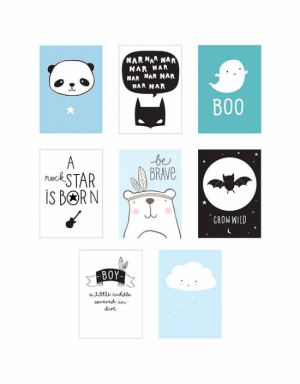 A Little Lovely Company Poster Sheets 8-pack Blå