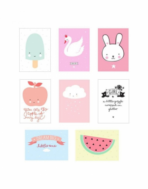 A Little Lovely Company Poster Sheets 8-pack Rosa