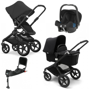 Paketpris! Bugaboo Fox All Black + Britax SHR & Isofixbas