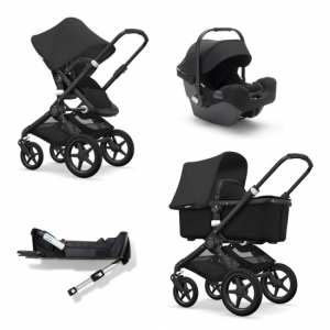 Paketpris! Bugaboo Fox All Black + Turtle By Nuna & isofixbas