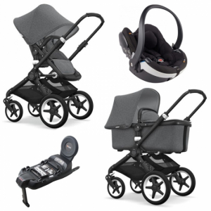 Bugaboo Fox Komplett Grey Melange/Black Travel System BeSafe