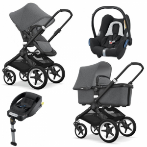 Bugaboo Fox Komplett Grey Melange/Black Travel System Maxi Cosi