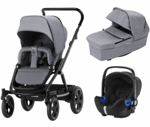 Britax Go Big² Travel System Grey Melange, Svart Chassi