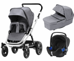 Britax Go Big² Travel System Grey Melange, Vitt Chassi