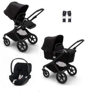 Bugaboo Fox2 Black/Black, Cybex Cloud Z, adapter