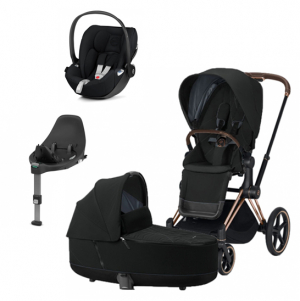 Paket Cybex E-Priam Duovagn Rosegold Deep Black + Cloud Z babyskydd & Base Z
