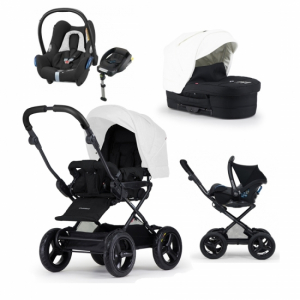 Paketpris! Crescent Comfort Duo Black/White, Maxi-Cosi Cabriofix Babyskydd, Black Grid + Bas & Adapter