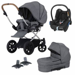 Paket! Crescent Performance Duo Grey Melange med Maxi Cosi babyskydd + Adapter