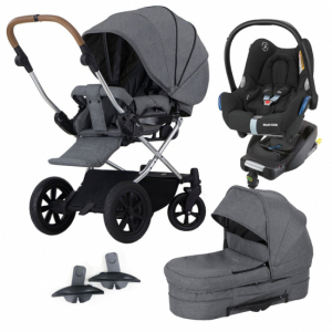 Paket! Crescent Performance Duo Grey Melange med Maxi Cosi babyskydd, bas & Adapter