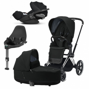 Paket Cybex Priam 2020 Duovagn Deep Black  | Chrome Chassi | Cloud Z babyskydd |  Base Z i-Sizebas