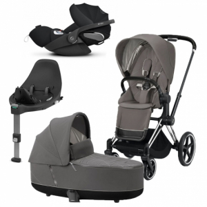 Paket Cybex Priam 2020 Duovagn Soho Grey | Chrome Chassi | Cloud Z babyskydd | Base Z i-Sizebas