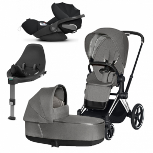 Paket Cybex Priam 2020 Duovagn Manhattan Grey | Chrome Chassi | Cloud Z babyskydd | Base Z i-Sizebas