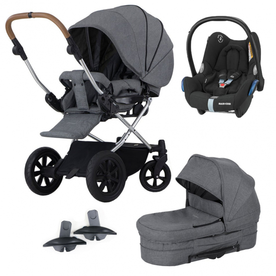 Paket! Crescent Performance Duo Grey Melange med Maxi Cosi babyskydd + Adapter i gruppen Barnvagnar  / Varumärken / Crescent / Performance hos Köpbarnvagn (pktcrepreduomcc1)